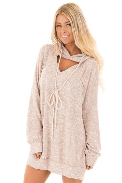 Blush Two Tone Knit Hoodie with Keyhole Detail front close up