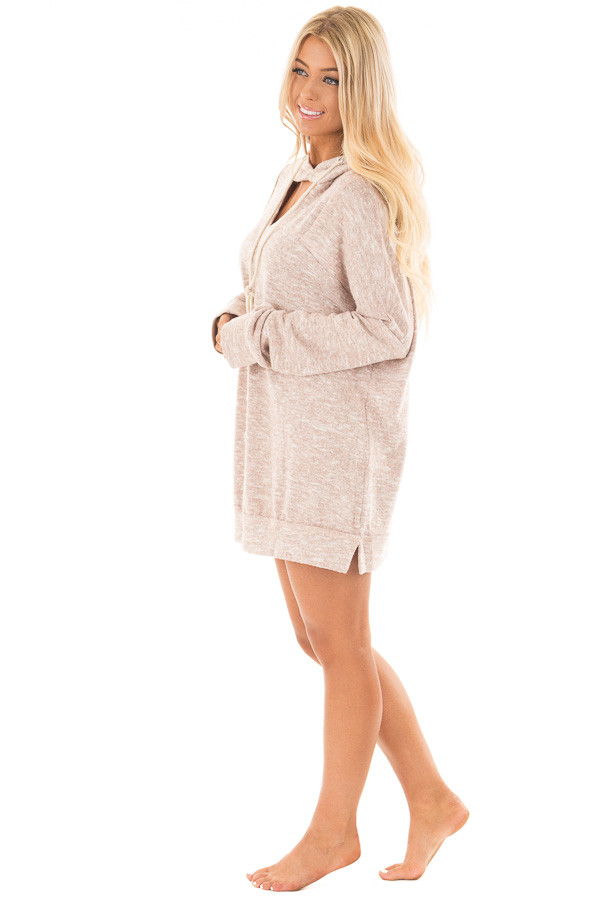 Blush Two Tone Knit Hoodie with Keyhole Detail side full body