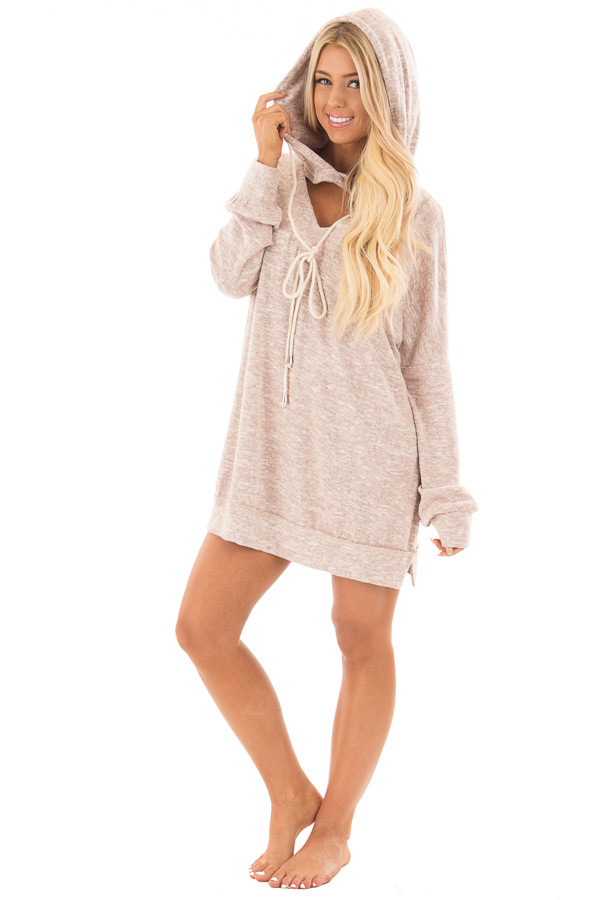 Blush Two Tone Knit Hoodie with Keyhole Detail front full body