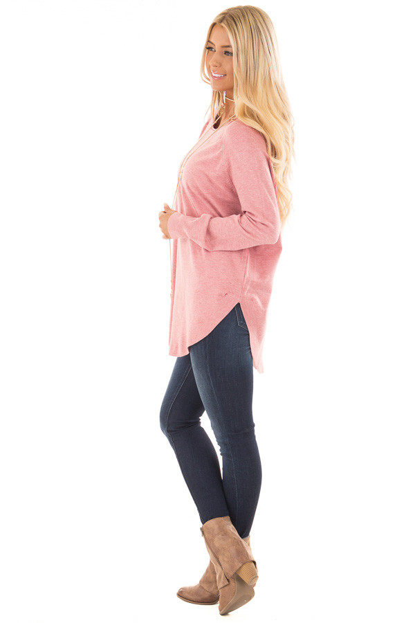 Rose Round Neck Soft Knit Sweater side full body