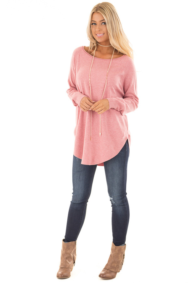 Rose Round Neck Soft Knit Sweater front full body