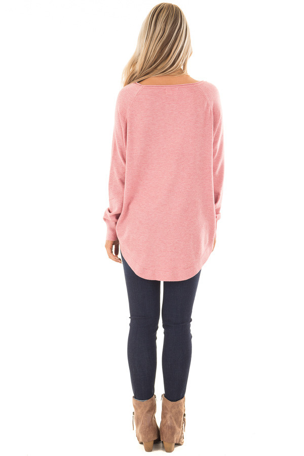 Rose Round Neck Soft Knit Sweater back full body