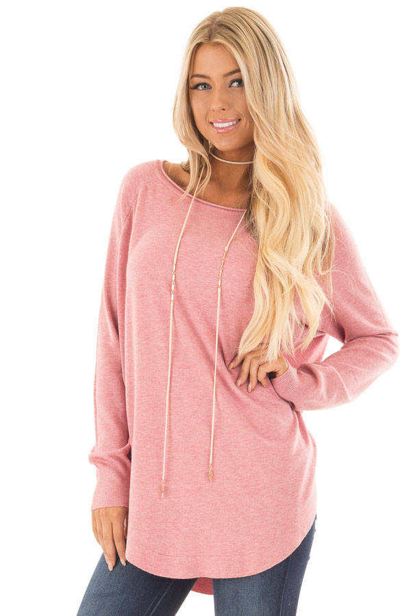 Rose Round Neck Soft Knit Sweater front close up