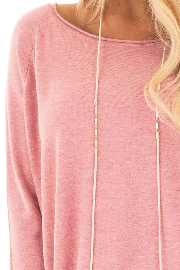 Rose Round Neck Soft Knit Sweater detail