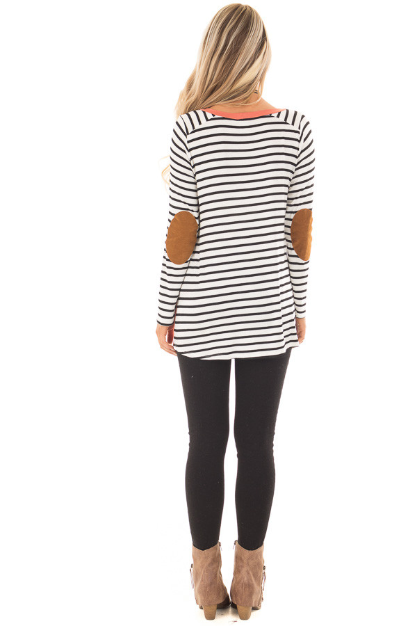 Coral with Striped Long Sleeve Top with Suede Elbow Patches back full body