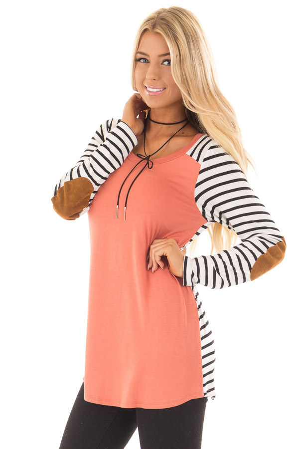 Coral with Striped Long Sleeve Top with Suede Elbow Patches front close up