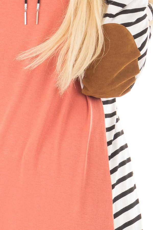 Coral with Striped Long Sleeve Top with Suede Elbow Patches detail