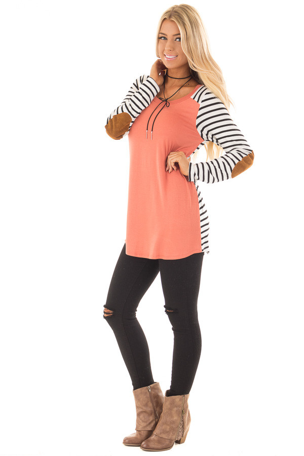 Coral with Striped Long Sleeve Top with Suede Elbow Patches front full body