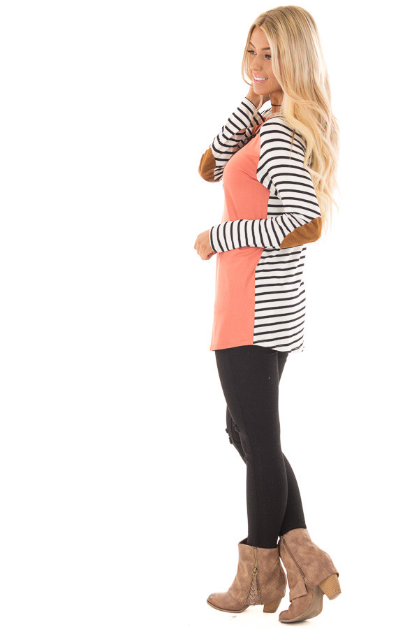 Coral with Striped Long Sleeve Top with Suede Elbow Patches side full body