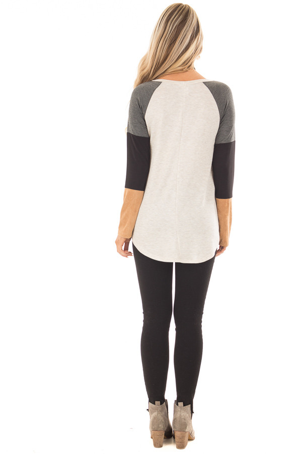 Charcoal Block Long Sleeves Top with Faux Suede Pocket back full body