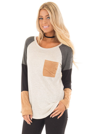 Charcoal Block Long Sleeves Top with Faux Suede Pocket front close up
