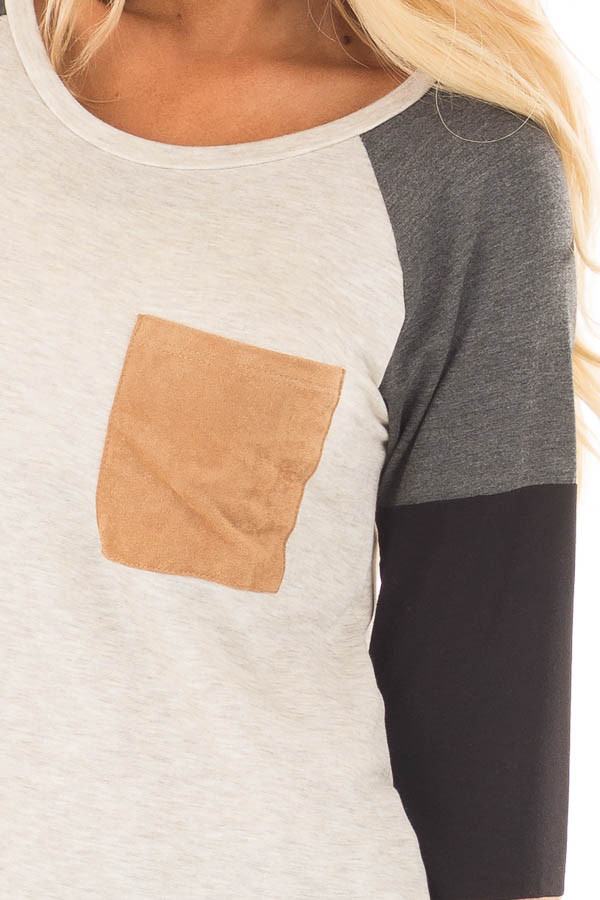 Charcoal Block Long Sleeves Top with Faux Suede Pocket detail