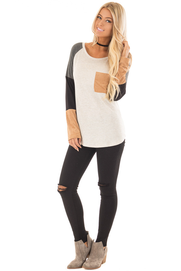 Charcoal Block Long Sleeves Top with Faux Suede Pocket front full body