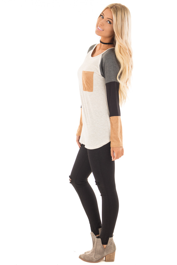 Charcoal Block Long Sleeves Top with Faux Suede Pocket side full body