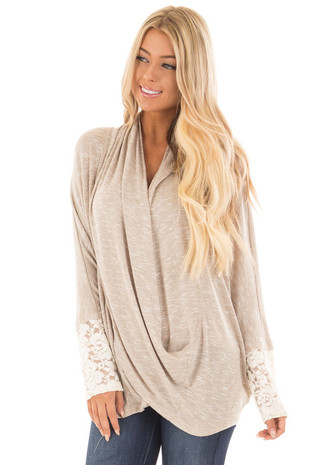 Taupe Two Tone Crossover Sweater with Floral Lace Cuffs front close up
