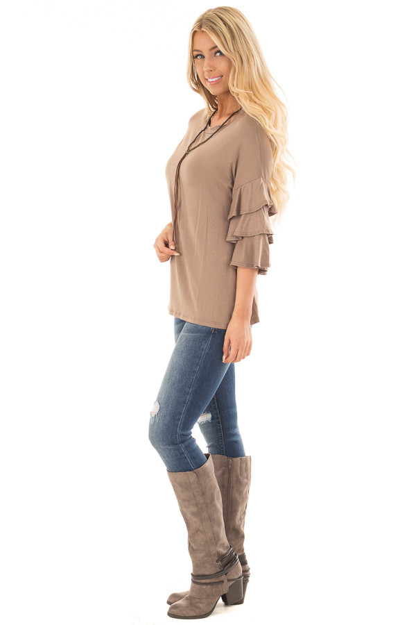 Mocha Tee Shirt with Tiered Ruffle Sleeves side full body