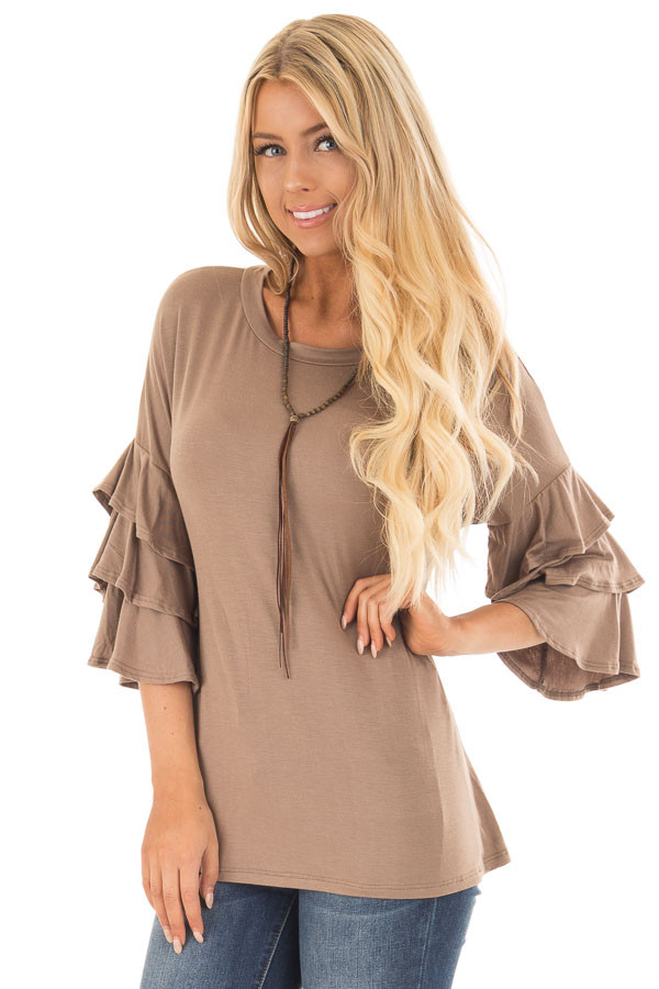 Mocha Tee Shirt with Tiered Ruffle Sleeves front close up