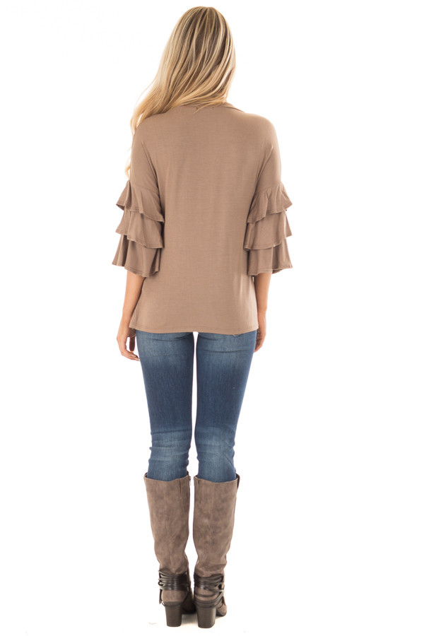 Mocha Tee Shirt with Tiered Ruffle Sleeves back full body