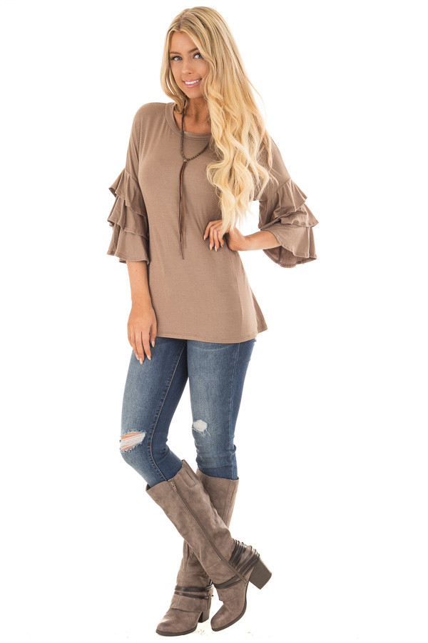 Mocha Tee Shirt with Tiered Ruffle Sleeves front full body