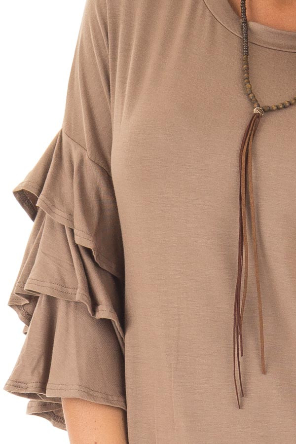 Mocha Tee Shirt with Tiered Ruffle Sleeves detail