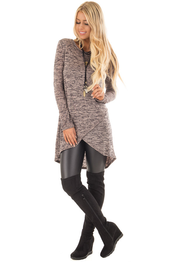 Taupe and Black Two Tone Layered Long Sleeve Tunic Sweater | Lime Lush