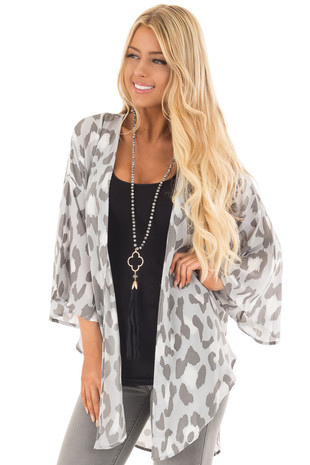 Light Grey Leopard Print Kimono with Flare Sleeves front close up