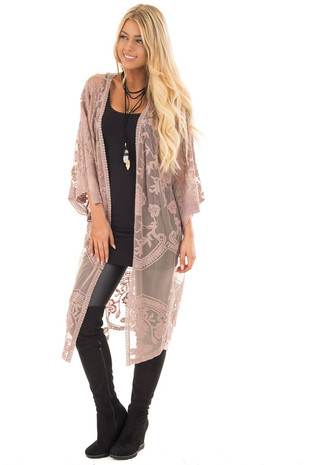 Taupe Sheer Crochet Lace Detailed Long Cardigan front full body