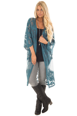 Teal Sheer Crochet Lace Detailed Long Cardigan front full body