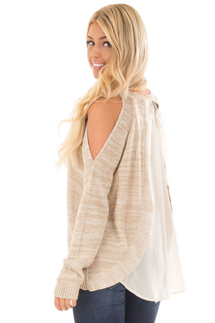 Taupe Cold Shoulder Sweater with Beige Chiffon Contrast back side close up