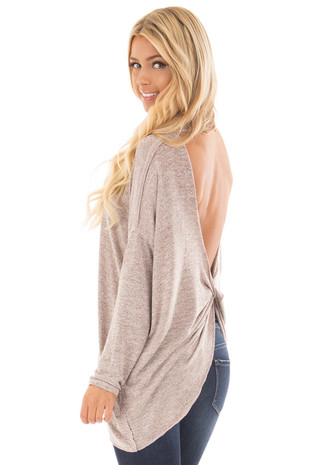Rose Grey Two Tone Open Twisted Back Lightweight Sweater back side close up