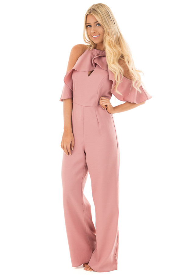 Dusty Rose Cold Shoulder Jumpsuit with Key Hole Neckline front full body