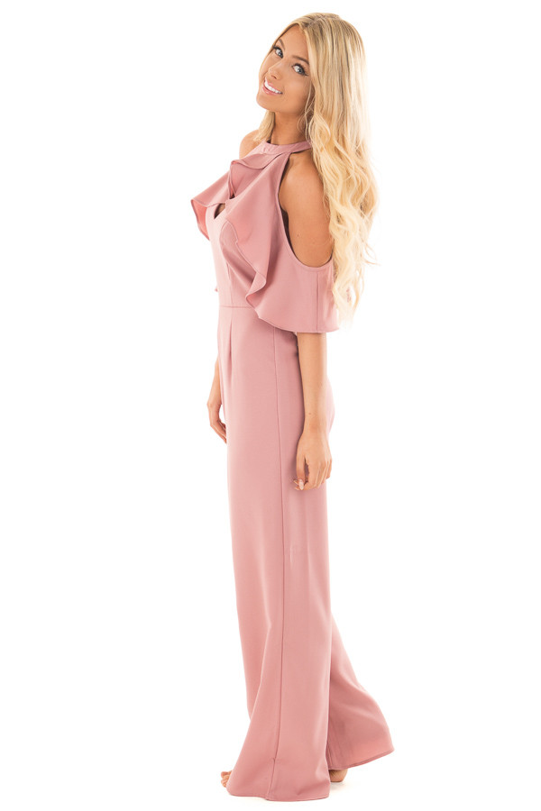Dusty Rose Cold Shoulder Jumpsuit with Key Hole Neckline side full body