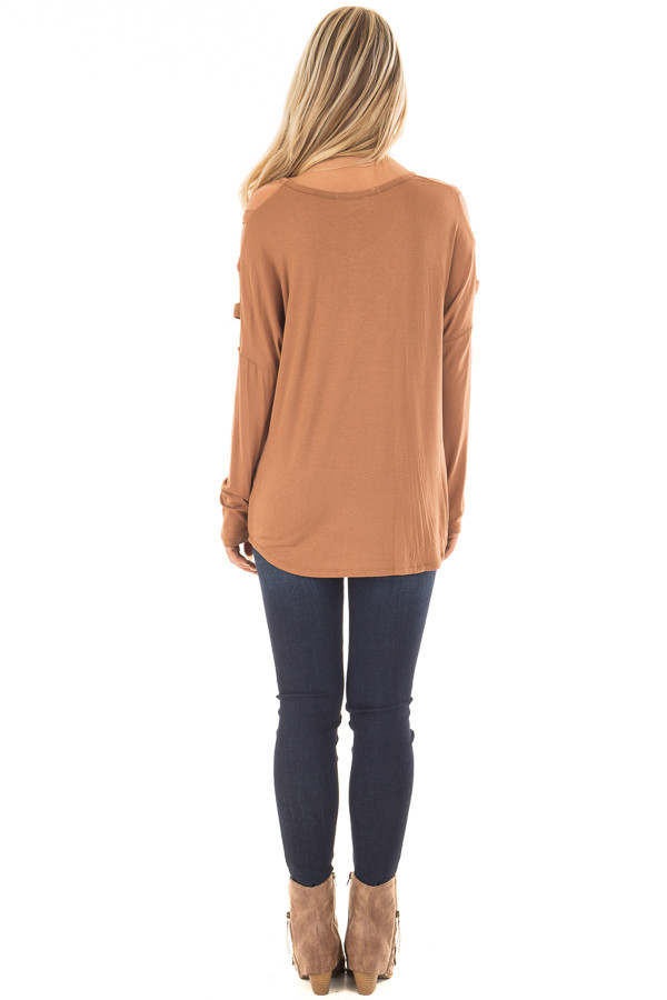 Camel Top with Ladder Cut Cold Shoulder Long Sleeves back full body