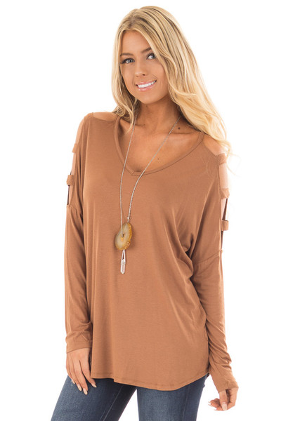 Camel Top with Ladder Cut Cold Shoulder Long Sleeves front close up