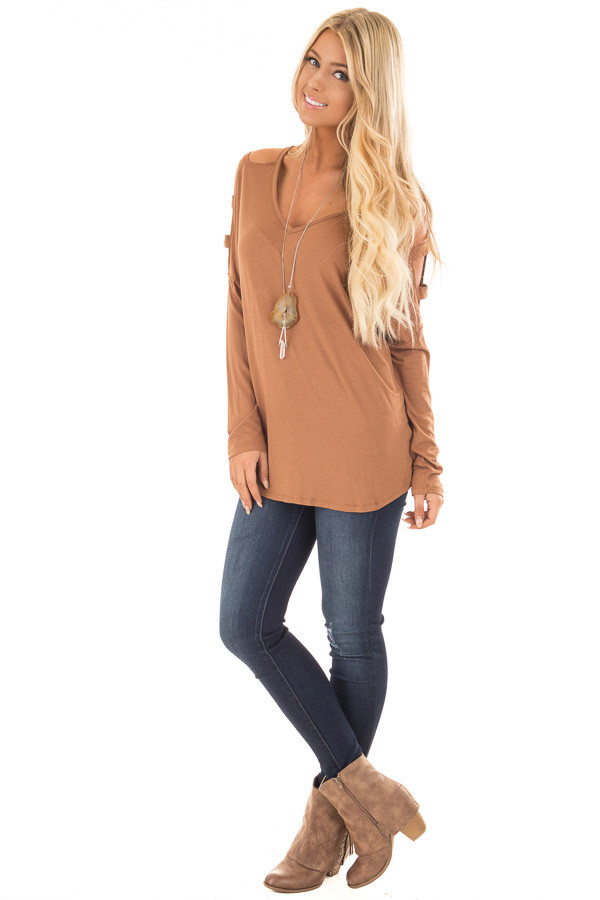 Camel Top with Ladder Cut Cold Shoulder Long Sleeves front full body