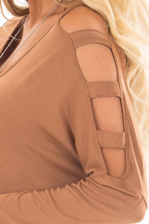 Camel Top with Ladder Cut Cold Shoulder Long Sleeves detail