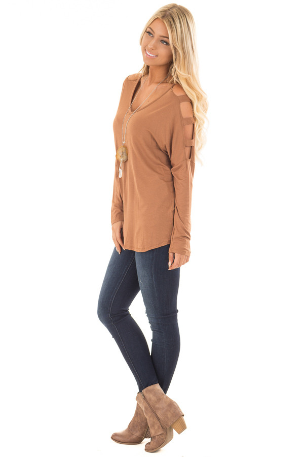 Camel Top with Ladder Cut Cold Shoulder Long Sleeves side full body