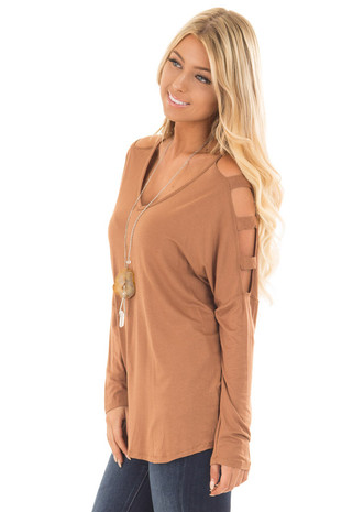 Camel Top with Ladder Cut Cold Shoulder Long Sleeves side close up