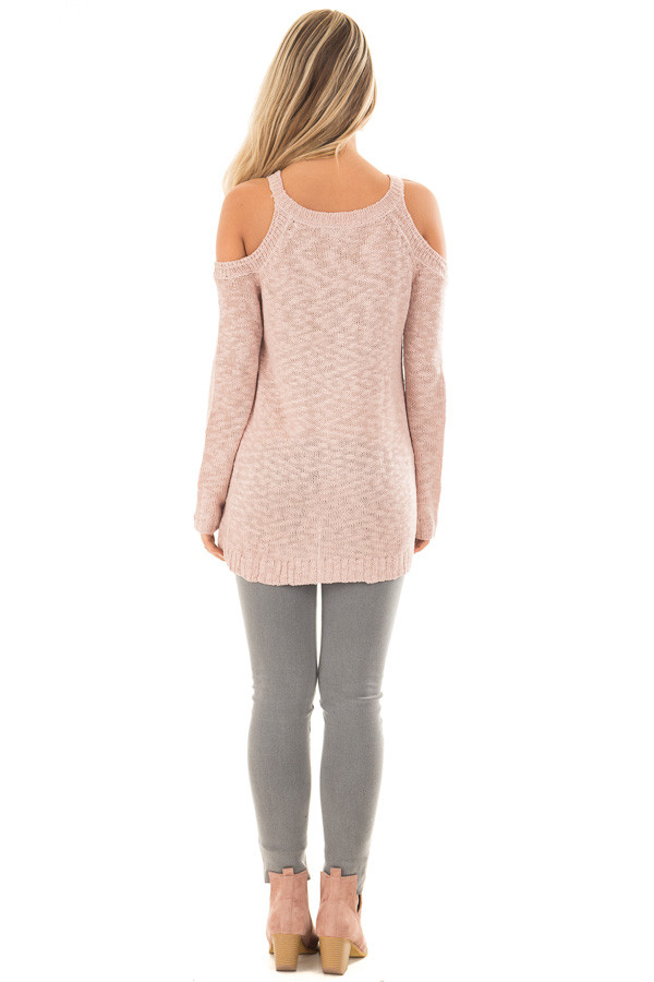 Dusty Blush Cold Shoulder Sweater with Lace Up Neckline back full body