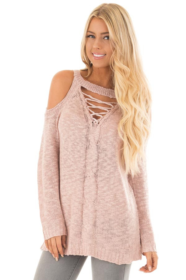 Dusty Blush Cold Shoulder Sweater with Lace Up Neckline front close up