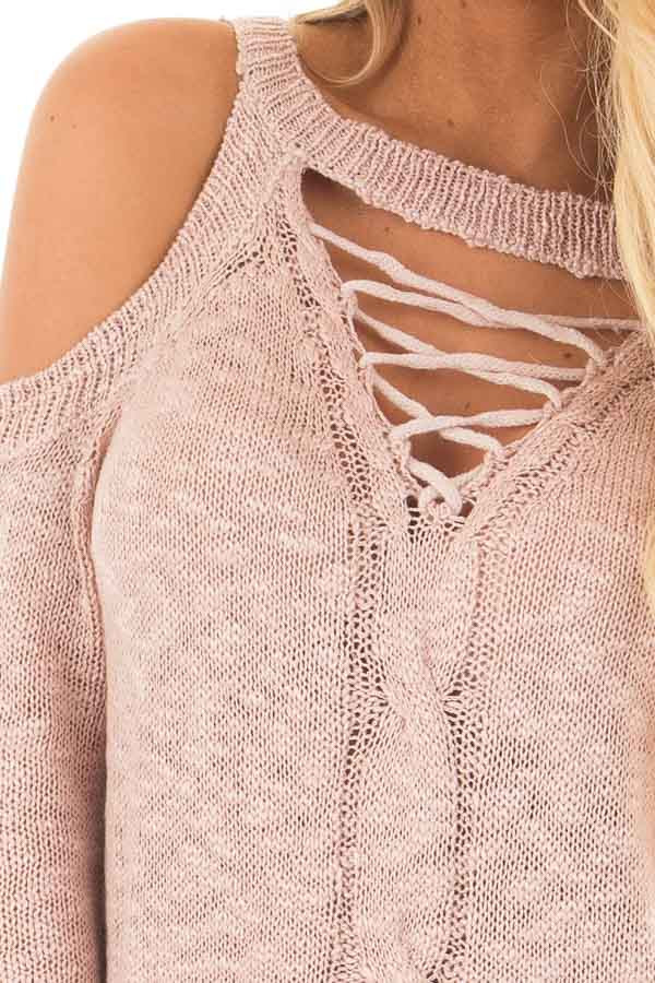 Dusty Blush Cold Shoulder Sweater with Lace Up Neckline detail