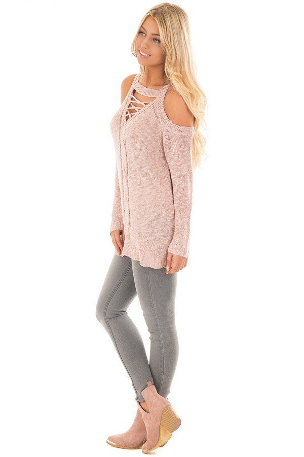 Dusty Blush Cold Shoulder Sweater with Lace Up Neckline side full body