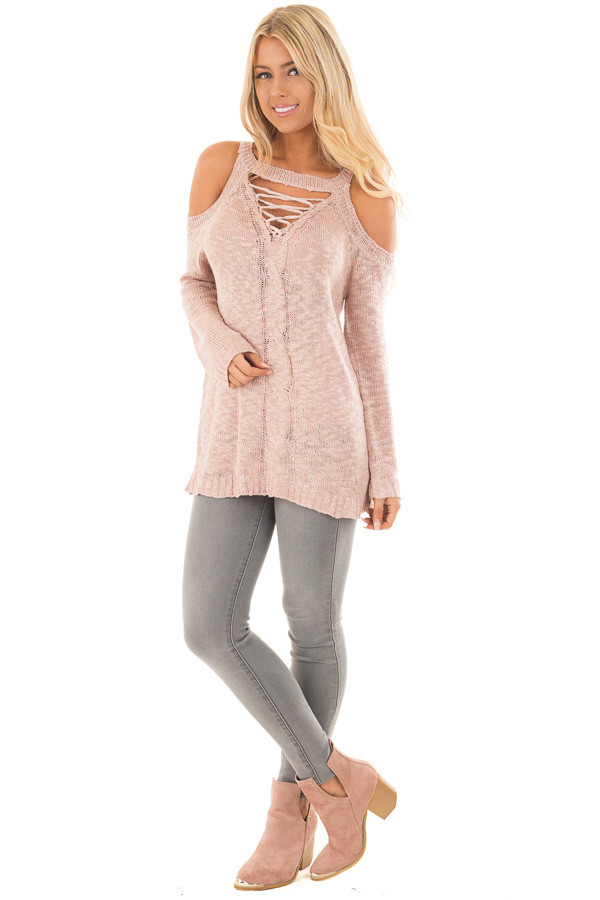 Dusty Blush Cold Shoulder Sweater with Lace Up Neckline front full body