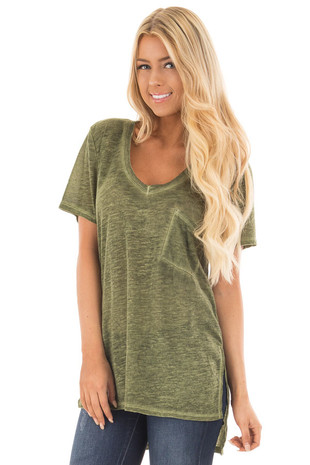 Olive Washed V Neck Tee Shirt with Breast Pocket front close up