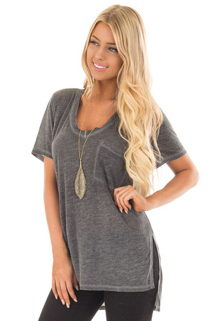 Charcoal Washed V Neck Tee Shirt with Breast Pocket front close up