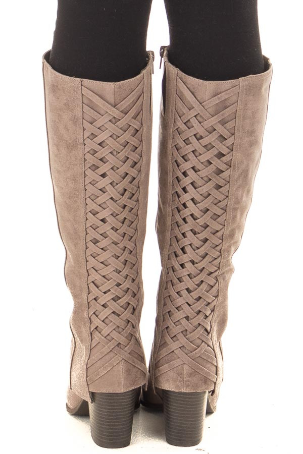 Doe Grey Faux Leather Overlay Boot with Braided Back Detail back view