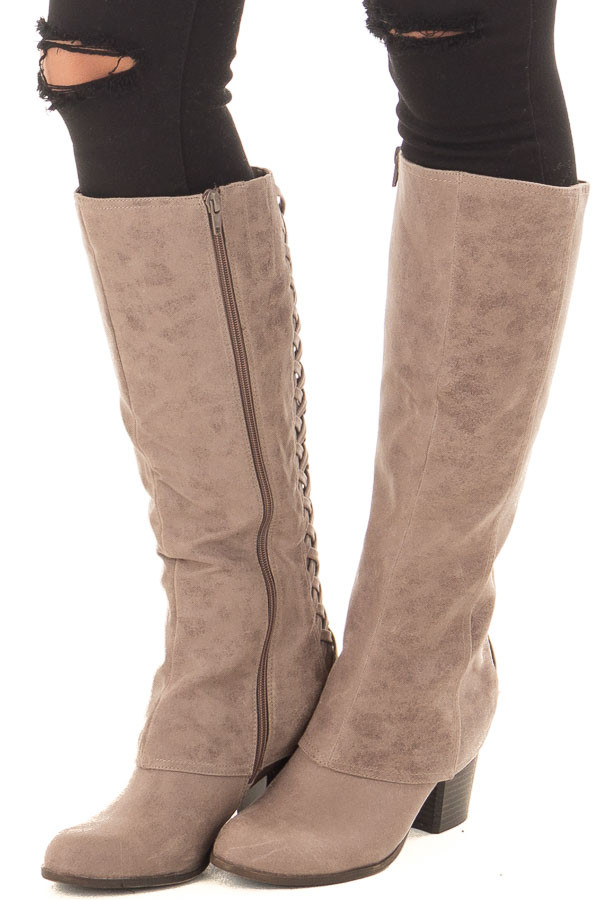 Doe Grey Faux Leather Overlay Boot with Braided Back Detail front side view