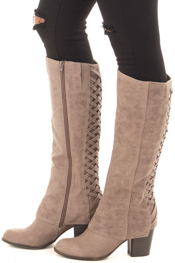 Doe Grey Faux Leather Overlay Boot with Braided Back Detail side view