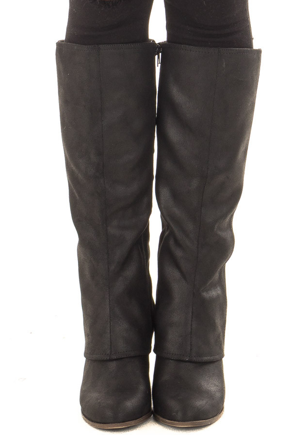 Black Faux Leather Overlay Boot with Braided Back Detail front view