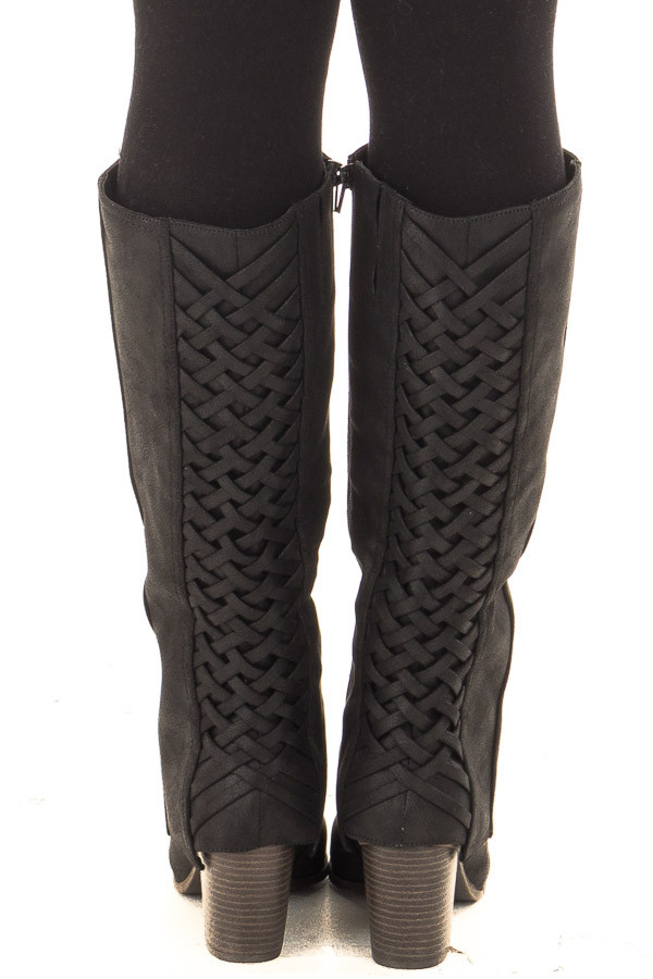 Black Faux Leather Overlay Boot with Braided Back Detail back view